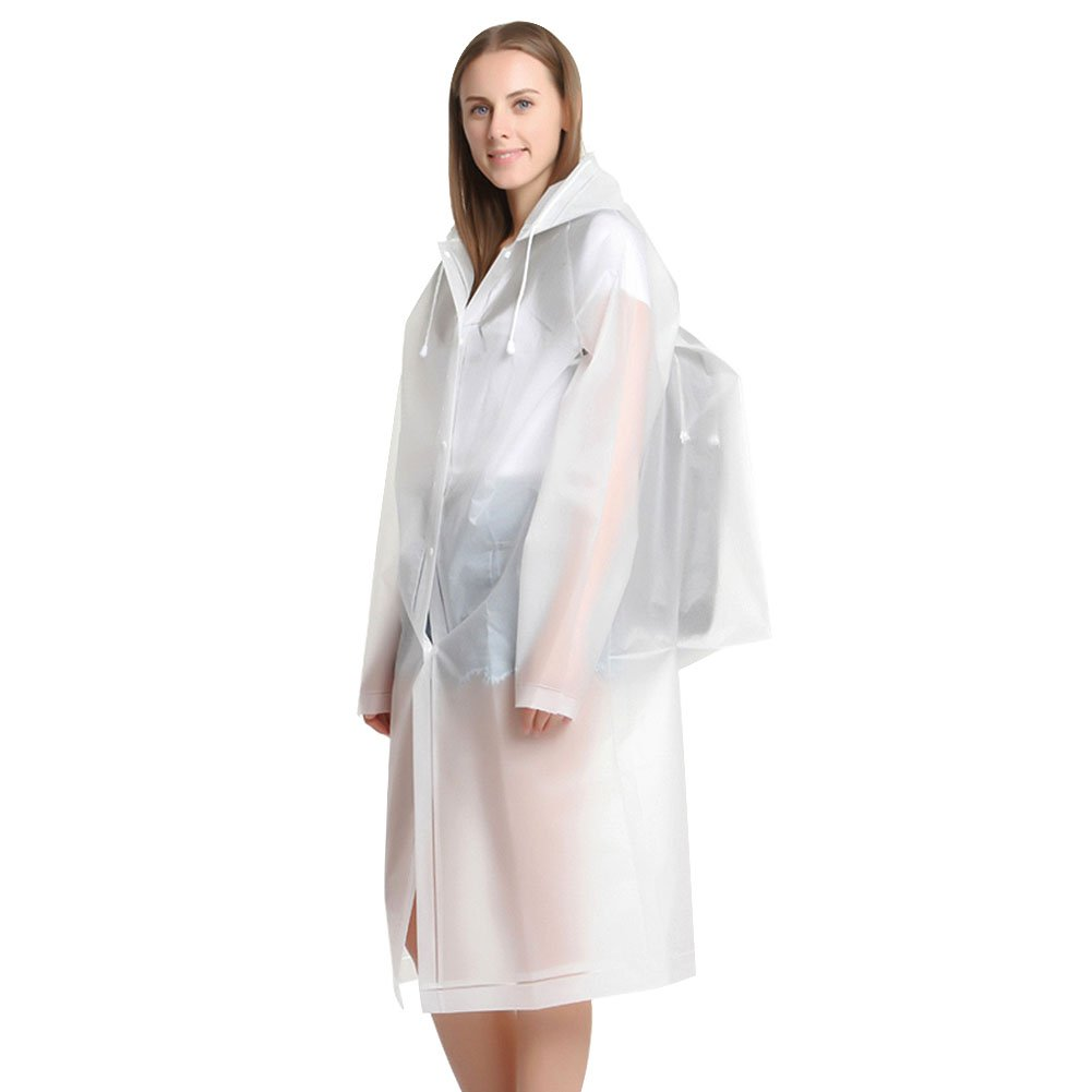 UNIQUEBELLA Raincoat Women Waterproof with Hood Lightweight Rain Jacket for Travel Translucent Portable Rain Poncho with Backpack- White, L