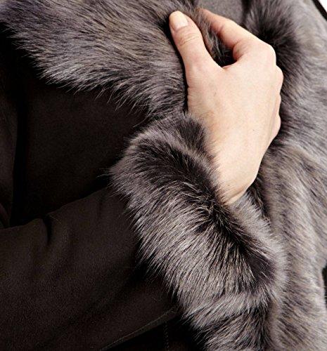 plata Sude para A cuero negro Vesterable con Abrigo largo mujer invierno Z 3 de de oveja de to 4 piel vFxgawqH