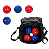 Bocce Ball Premium Set - Top Quality Resin Balls - 9 Balls with Carry Case By Trademark Innovations (Red/Blue)
