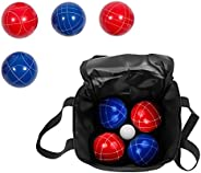 Bocce Ball Premium Set Resin Balls - 9 Balls with Carry Case by Trademark Innovations (Red/Blue)