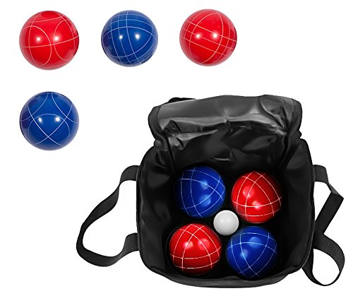 Bocce Ball Premium Set - Top Quality Resin Balls - 9 Balls with Carry Case By Trademark Innovations (Red/Blue, - Set 90 Ball