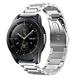 Shangpule Compatible Samsung Galaxy Watch Bands 42mm 46mm, Stainless Steel Metal Replacement Strap Bracelet Compatible Galaxy Watch SM-R810/SM-R800 Smartwatch (Silver, 42mm)