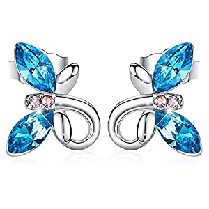 CDE Birthstone Jewelry for Women Girls Hypoallergenic Butterfly Stud Earrings Embellished with Crystals from Swarovski with S925 Sterling Silver Needle
