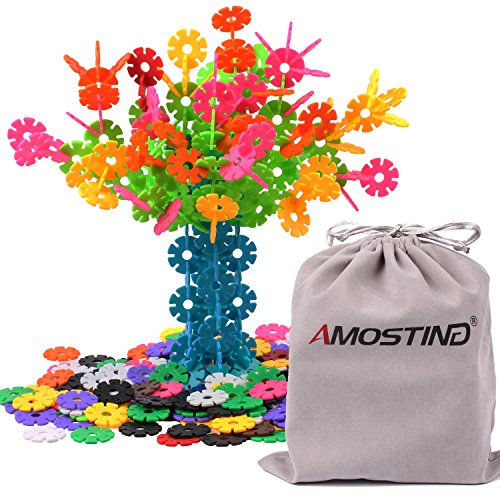 AMOSTING Building Blocks Educational Toys Set Plastic Building Discs Brain Flakes STEM Toys for Preschool Kids Boys and Girls -360pcs with Storage Bag