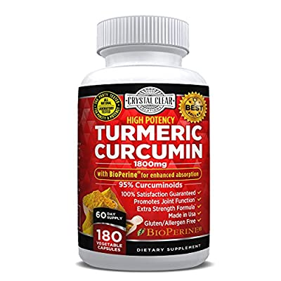 Turmeric Curcumin with Bioperine Black Pepper Extract 180 Veggie Capsules, Highest Potency, Best for Joint Pain Relief, Heart Health and Anti-Aging, Natural Antioxidant, Gluten Free, Non-GMO
