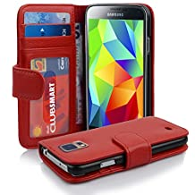 Cadorabo - Book Style Wallet Design for Samsung Galaxy S5 / S5 NEO (I5500) with 2 Card Slots and Money Pouch - Etui Case Cover Protection in CANDY-APPLE-RED