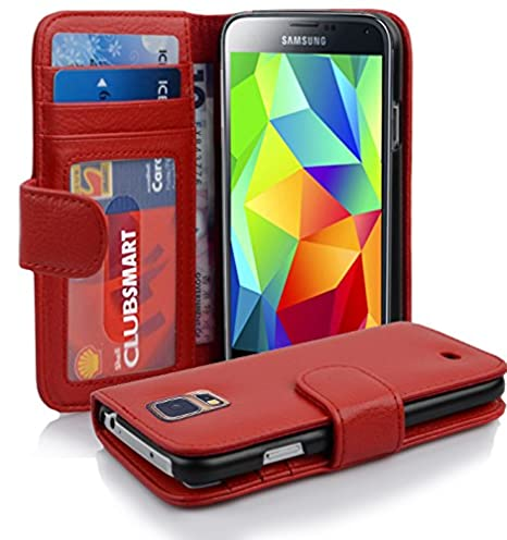 Cadorabo Hülle für Samsung Galaxy S5 / S5 NEO - Hülle in INFERNO ROT – Handyhülle mit 3 Kartenfächern - Case Cover Schutzhüll