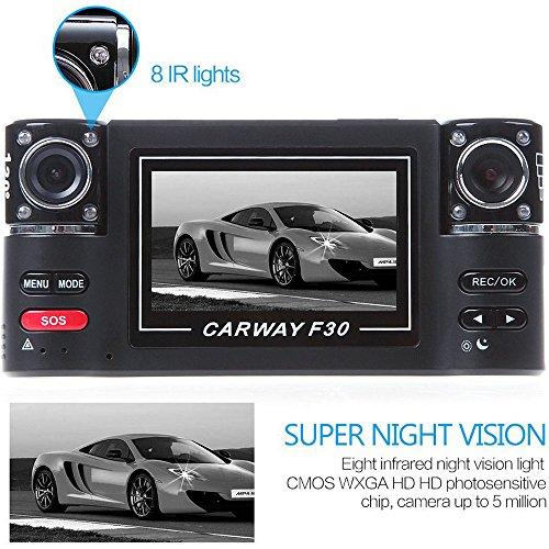 (PolarLander Dual Camera Car DVR F30 Dual Lens 2.7