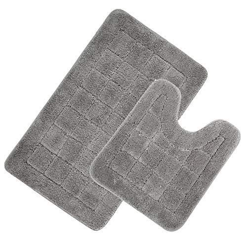 HEBE Bath Rugs Set of 2 Non Slip Microfiber