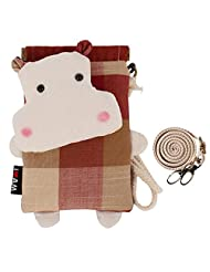 Princess Coin Purse Cute Cross Body Bag for Little Girls - Red Plaid and Cute Hippo