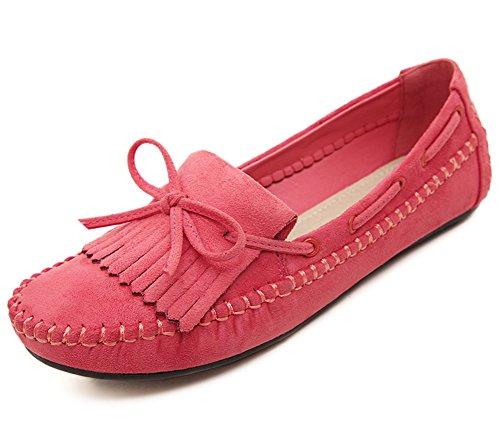 Aisun Damen Flach Schleifen Wildlederoptik Mokassins Bootsschuhe Rot