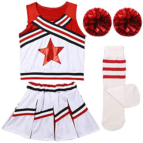 (Girls Kids Cheerleader Uniform Costume Soccer Carnival Party Outfit Crop Top with Skirt Knee Socks Match Pom poms Set)