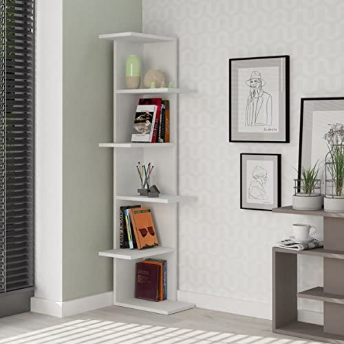 Cheap Ada Home Decor Bowcott Modern White Bookcase 55.51'' H x 14.57'' W x 8.66'' D/Shelving Unit/Bookshelf modern bookcase for sale