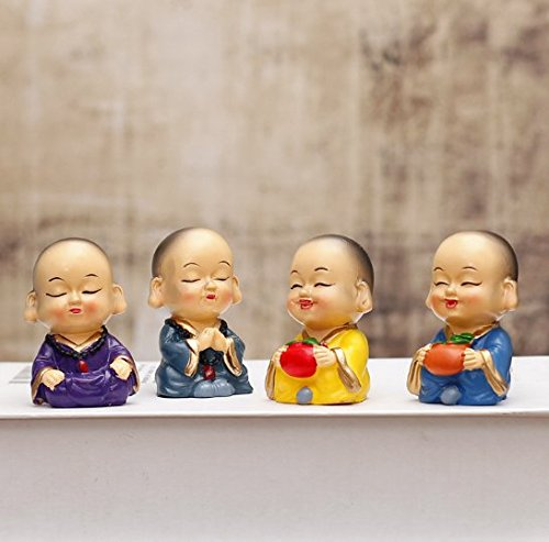 URBeauty 4PCS/Set Doll Creative Maitreya Resin Gifts Car Decoration Four little Monks Small Ornaments Lovely Car Interior Accessories- Doll Creative Maitreya Resin Gifts