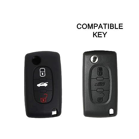 Cubierta de Silicona para Llave con Control Remoto Peugeot 106 107 206 207 307 308 407 408 409 607, Idea para Regalo, Llavero (Negro)