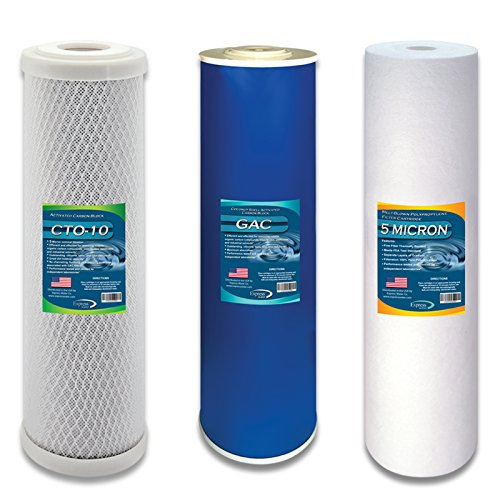 Express Water Whole House Water Filter Set Replacement Cartridges Carbon CTO GAC Sediment 5 um Micron 4.5'' x 20'' Inch by Express Water