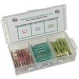 NEF Heat Shrink Crimp and Solder Butt Connector Assortment, 22-18, 16-14 and 12-10 Gauge, Plastic Organizer, 55 Piece Kit