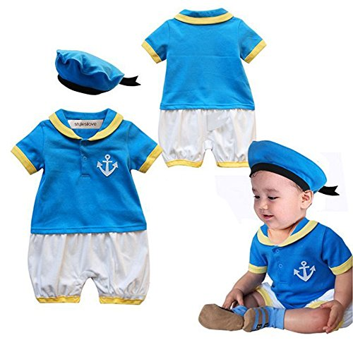 stylesilove Baby Boy Donald Duck Inspired Costume Romper and Hat (95/18-24 Months) -