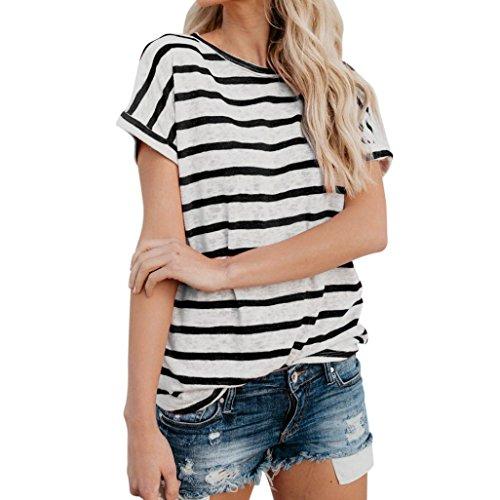 Price comparison product image IEason Women Short Sleeve Fashion Tops Block Stripe T-Shirt Casual Blouse (S,  Black)