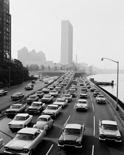 Street 48th - USA Rush hour traffic leaving New York City on East River Drive at 48th Street Poster Print (18 x 24)