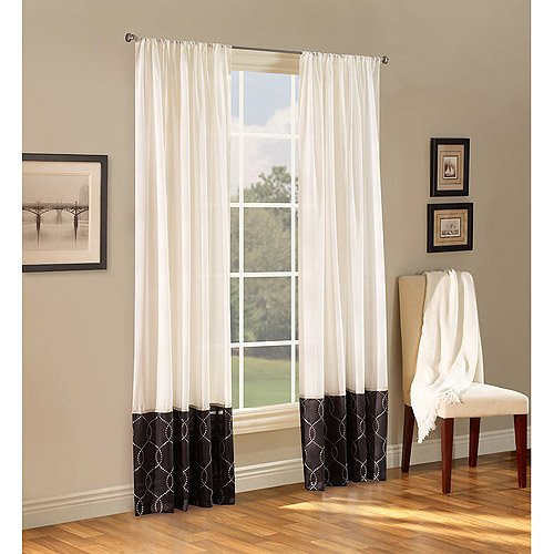 Belle Maison Melrose Reversible Sheer Curtain Panel, Set of 2 (Onyx, 54