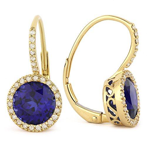 Created-Blue-Sapphire Gemstone & Accented Diamond Dangle-Earring Set In 14K White-Gold by Eros' Iced Showroom