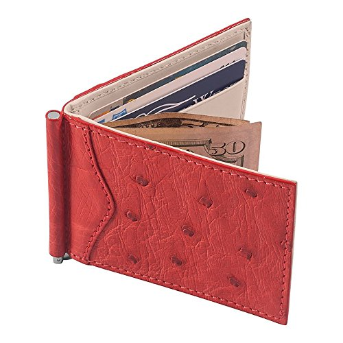 - Money Clip Wallet, Ostrich Leather, ID Holder, 3 CC Slots, Red/Creme