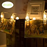Photo Display Decorative Lights 3 Modes 9.8Ft Romantic 20 Photo Clips LED String Lights with Battery Powered, Indoor String Lights for Hanging Photos/Paintings/Pictures/Card/Memos, Warm White
