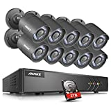 ANNKE 16-Channel 720P HD-TVI Security Camera System 1080P Lite Video DVR Recorder with 2TB HDD and (10) 1.0MP Weatherproof Bullet Cameras with Remote Access, Mobile Phone Control, Motion Detection