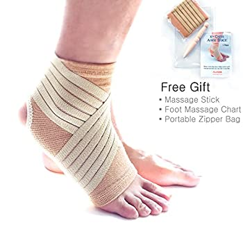 Ankle-Wrap (M) with Adjustable Compression Bandage Support for Sprain (Free Gift: Foot Massage Stick & Chart & Portable Zipper Bag)