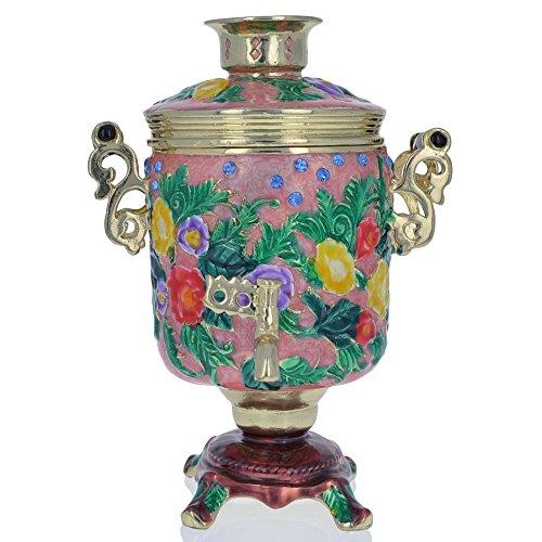 "4.5"" Faberge Russian Samovar Teapot Trinket Box Figurine"
