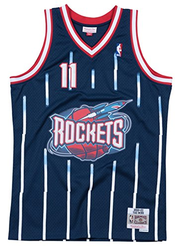 Yao Ming Houston Rockets Mitchell and Ness Men's Navy Throwback Jesey Medium