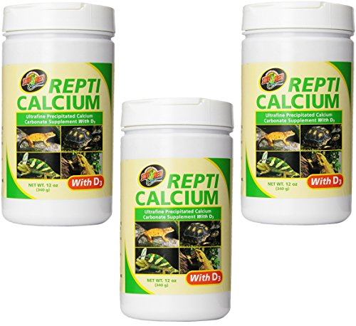 (3 Pack) Zoo Med Reptile Calcium with Vitamin D3, 12-Ounce Each