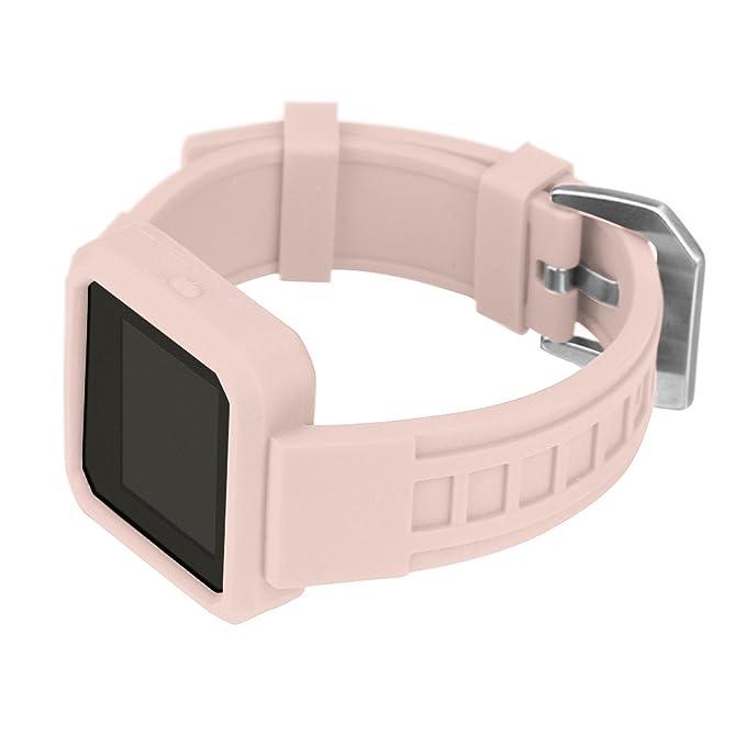 DIPOLA Correa de Correa de la Correa del Reloj del Reloj de la Hebilla del silicio con el Caso Proteger para el Resplandor de Fitbit: Amazon.es: Deportes y ...