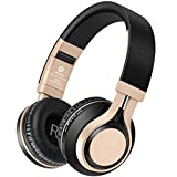Cheap Bluetooth Headphones Over Ear, On Ear Wireless Headphone with Microphone, HIFI HD Stereo Headsets, Lightweight, Folding, Comfortable, Deep Bass, Adjustable, for Kid and Adult Picun BT-08 (Black/Gold)