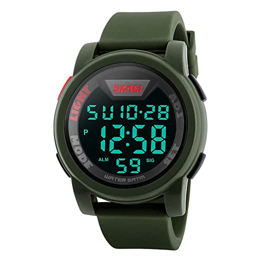 48ab30cf3 Men's Digital Sports Watch LED Screen Large Face Military Watches,  Waterproof Luminous Stopwatch Alarm Simple