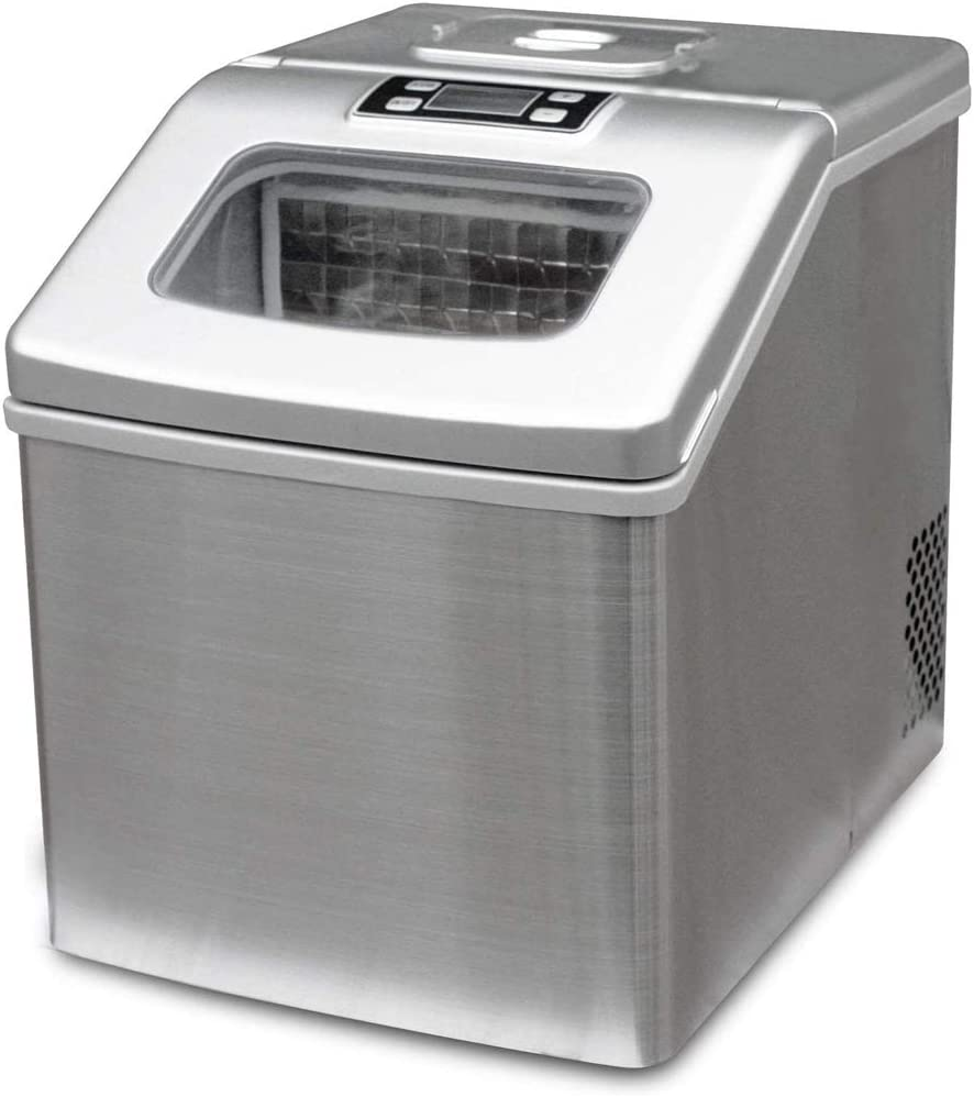 Ice Maker Machine, Countertop Ice Maker, Ice Cube Maker - Ice Maker, 35 Lb Per Day, See Through Lid, Silver