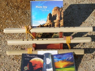 3 Unfinished A, G & F#, 6 hole Windpony Poplar Flutes with book & 3CDs Starter Set (Retail Value $149.95) - Books and CDs