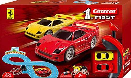 Carrera First Ferrari Slot Car Race Track - Includes 2 Cars: Red and Yellow Ferrari and Two-Controllers - Battery-Powered Beginner Set for Kids Ages 3 Years and Up from Carrera