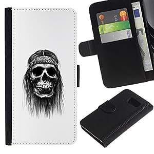 LECELL--Cuero de la tarjeta la carpeta del tirón Smartphone Slots Protección Holder For Sony Xperia Z3 Compact -- Hippy cráneo --