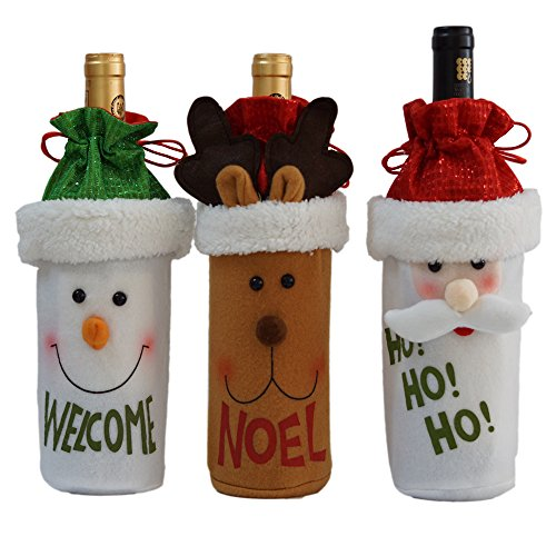 Snowman Bottle - BFU 3 Pcs Drawstring Christmas Red Wine Bottle Cover Bags Gift Bags Candy Bags for Xmas Gift Dinner Party Hotel Kitchen Table Decor, Santa, Reindeer and Snowman