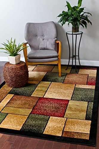 1794 Green Multi 5-Feet 2-Inch by 7-Feet 2-Inch Abstract Area Rugs Modern Greometric