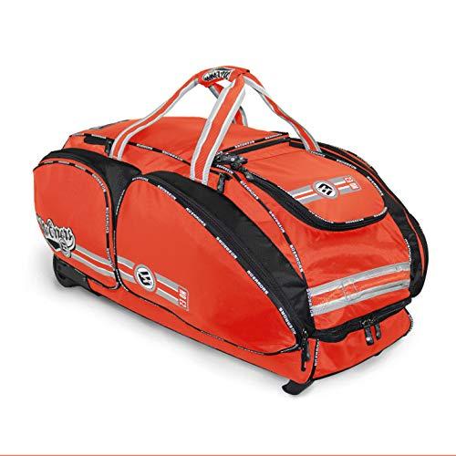 NO Errors NO E2 Catchers Bag with Fatboy Wheels - Wheeled Baseball Equipment Gear & Helmet Bags (Orange)