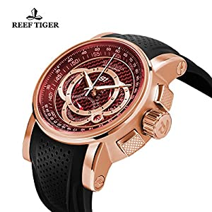 Reef Tiger Mens Chronograph Sport Rose Gold Red Dial Rubber Strap Quartz Watches RGA3063