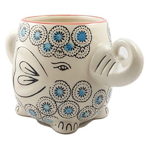 Happy Sales Hand-Painted Elephant Coffee Tea Mug Cups (Blossom) (Tea Mug Elephant)