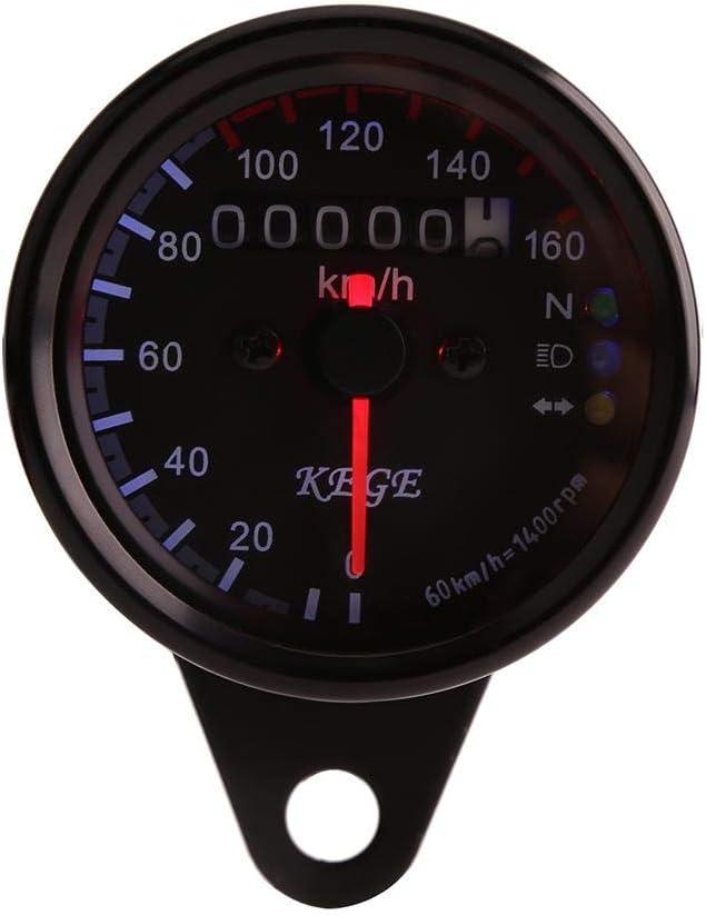 h Indicateur Simple Universel Black Keenso 12V Jauge de Vitesse Compteur de Vitesse dOdom/ètre Kilom/étrique de Moto LED Indicateur de Vitesse 0-160km