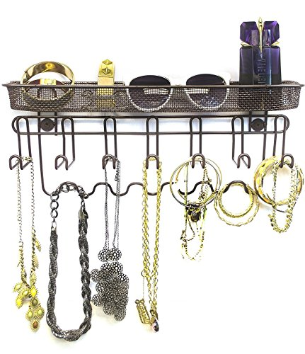 Sorbus Jewelry Organizer Holder, Mail & Key Rack, 13 Hook Wall Mounted Storage Shelf - Perfect for Jewelry, Accessories, Beauty Products, Mail, Keys, and Much More! (Bronze)