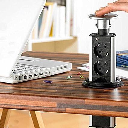 3 regleta regleta enchufe mesa enchufe + cargador USB: Amazon.es ...