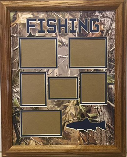 LLC. Framed & Matted Wildlife Art Real Tree Fishing Collage ()