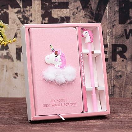 Cuaderno de notas o diario de espiral con unicornio y bolígrafo, regalo ideal para niños